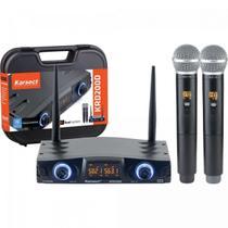 Microfone Duplo de Mão Sem Fio Karsect Krd200Dm Recarregável -