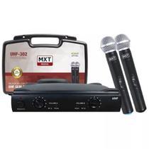 Microfone Duplo De Mão Sem Fio Mxt Uhf 302 Com Maleta -