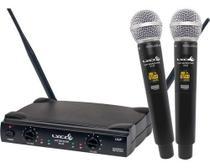Microfone Duplo De Mão Uhf Sem Fio Tipo Uh02mm Novo Modelo - Lyco