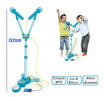 Microfone duplo infantil com pedestal rock boy 120 cm - Wellmix