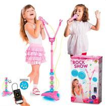 Microfone Duplo Infantil Rock Girl c/ Som Música Conecta MP3 - Dm Toys