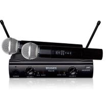 Microfone Duplo Sem Fio Profissional Uhf Igreja Karaoke - Weisre