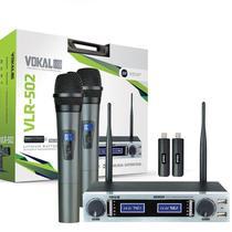 Microfone Duplo Sem Fio Recarregavel Vokal VLR502 UHF -