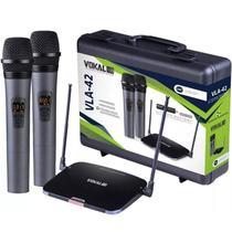 Microfone Duplo Sem Fio Vokal Vla42 Recarregavel Uhf -