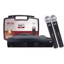 Microfone Duplo Uhf Sem Fio Profissional Mxt Uhf-302 Maleta -