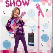 Microfone E Guitarra Infantil Som Luz Música Conecta Celular - DM BRASIL