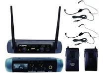 Microfone Headset Cabeça Sem Fio Duplo Ksr Pro 002-d Hd Head + Head -