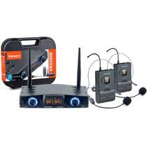 Microfone Headset sem Fio Duplo Karsect KRD200DH UHF 16 Frequências por Canal - Bivolt -