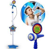 Microfone Infantil Azul Led Rock Star Mp3 Som Luz Musica Karaoke Brinquedo - Dm brasil