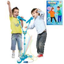 Microfone Infantil Duplo Amplificador Karaoke Com Pedestal Azul (DMT5049) - Braslu