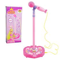 Microfone Infantil Musical Amplificador C/ Pedestal Karaoke Luz e Som Rosa (DMT3836) - Braslu