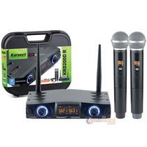 Microfone Karsect sem fio Duplo UHF com bateria KDR200DR -