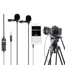 Microfone Lapela Duplo Boya BY-M1DM Omnidirecional para Câmeras e Smartphones -