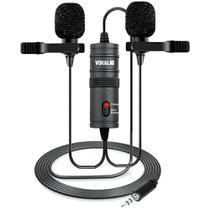 Microfone Lapela Vokal SLM20 Duplo Cabo 4m Com Bag -