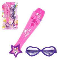 Microfone Musical Infantil Fashion Com Luz + Oculos A Pilha Na Cartela Wellkids - Wellmix