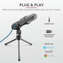 Microfone pc e not com tripe e conector usb - TRUST