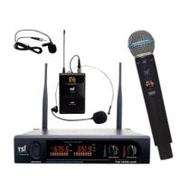 Microfone S/ Fio TSI-1200 CLI Bastão Headset Lapela UHF 96 C -