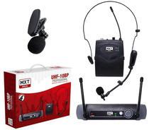 Microfone Sem Fio Cabeça/Lapela MXT UHF10BP Profissional -