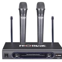 Microfone Sem Fio Duplo Chipsce Profissional Vhf Sc-3688 -