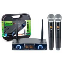 Microfone sem fio duplo de mão karsect krd200dr uhf recarregável -