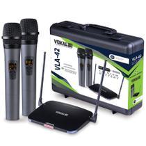 Microfone Sem Fio Duplo de Mão Vokal VLA42 Recarregavel Uhf -