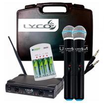 Microfone Sem Fio Duplo Lyco Uh02mm + Carregador de Pilhas -