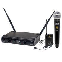 Microfone Sem Fio Duplo Lyco UH08MHLI Mão Headset Lapela Instrumento -