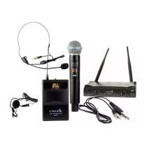 Microfone Sem Fio Duplo Lyco UH08MHLI Mão Headset Lapela -