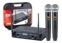 Microfone Sem Fio Duplo Mão Vokal Dvs100 Dm Uhf -