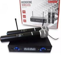 Microfone Sem Fio Duplo UHF Digital Profissional - Tomate