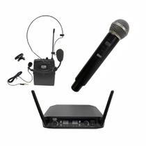 Microfone Sem Fio Headset, Lapela E De Mão 3 Em 1 Mxt Uhf 526m/sp -