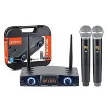 Microfone Sem Fio Karsect Dois Bastão Duplo de Mão KRD200DM -