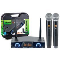 Microfone Sem Fio Karsect KRD200 DR Mão Duplo Recarregável -