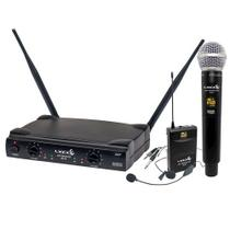 Microfone Sem Fio Lyco Profissional Duplo Mao Headset Uhf Uh08mhli Multifrequencial -