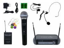Microfone Sem Fio Prof Vhf Mao Headset Auricular Lapela - Lyco