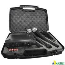 Microfone Sem Fio UHF Duplo de Mão Profissional com Anatel - Mxt