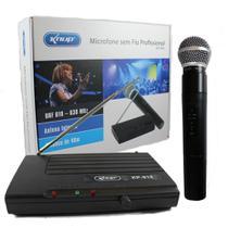 Microfone Sem Fio Uhf Wireless Bivolt Karaokê Profissional KP-910 - Knup