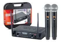 Microfone Sem Fio Vokal Dvs100 Dm Duplo Mão Lançamento -