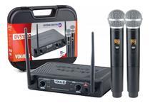 Microfone sem fio vokal dvs100dm duplo de mao freq variavel -
