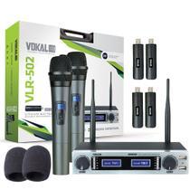 Microfone Sem Fio Vokal Vlr 502 Duplo UHF +  Espuma + Par de Bateria Extra -