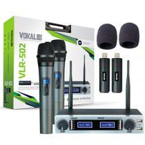 Microfone Sem Fio Vokal Vlr 502 Duplo UHF +  Par de Espumas -