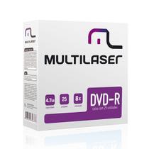 Midia DVD-R Multilaser DV042 4.7 GB 8X Caixa com Envelopes Finos 25 Unidades - GNA