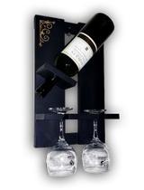 Mini Adega Madeira MDF Barzinho de Parede Para Vinhos Com Porta Taças 39x23cm Preto Fosco - Soul Fins