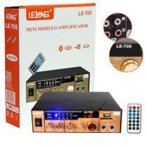 Mini Amplificador De Som Bluetooth Karaoke Le-705 Lelong 110v Usb Cartão Mp3 Fm 2 Canais -