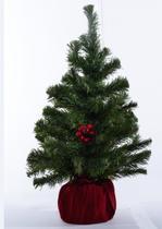 Mini Arvore Natal Pinheiro Base Concreto e Veludo Vermelho - Cromus