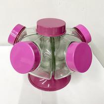 Mini Baleiro Giratório 5 Bocas Transpartente Com Tampas De plástico ROSA - Hypem
