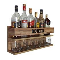 Mini Bar Barzinho de Parede Suspenso 100% Mdf - Boteco - 60 x 26 Nogueira - Co2Beer
