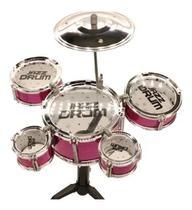 Mini Bateria Brinquedo Infantil Tambor Baquetas Bw039 Rosa Instrumento infantil - Importway