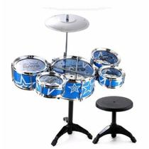 Mini Bateria Infantil Musical 5 Tambores Com Banco Jazz Drum - Drum Set