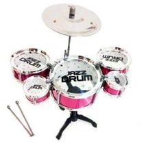 Mini Bateria Musical Infantil , 5 Tambores 1 Prato (REF: NO 999-11) ROSA - Happy Jazz Drum